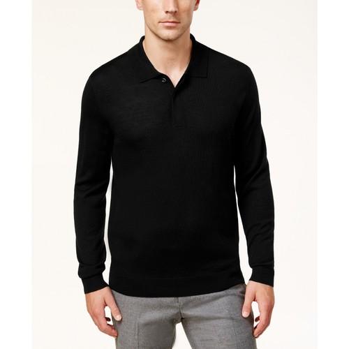 Club Room Men's Merino Wool Blend Polo Sweater Black Size Small