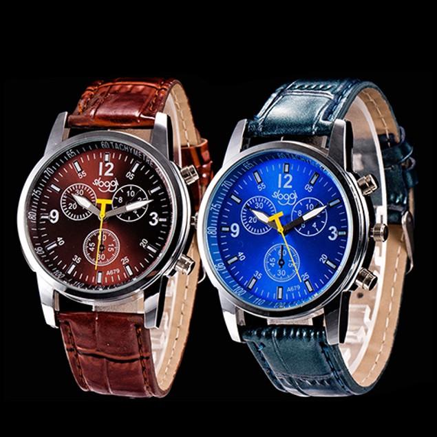 Men Fashion Faux Leather Strap Round Dial Analog Quartz Wrist Watch