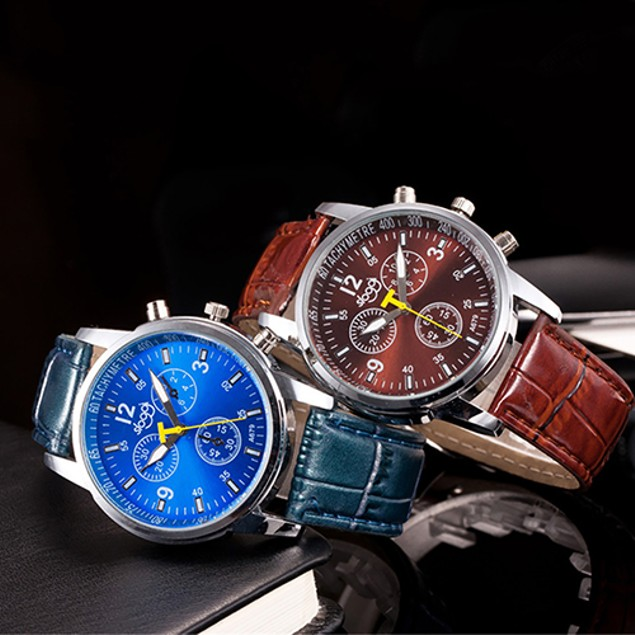 Men's Faux Leather Strap Round Dial Analog Quartz Wristwatch