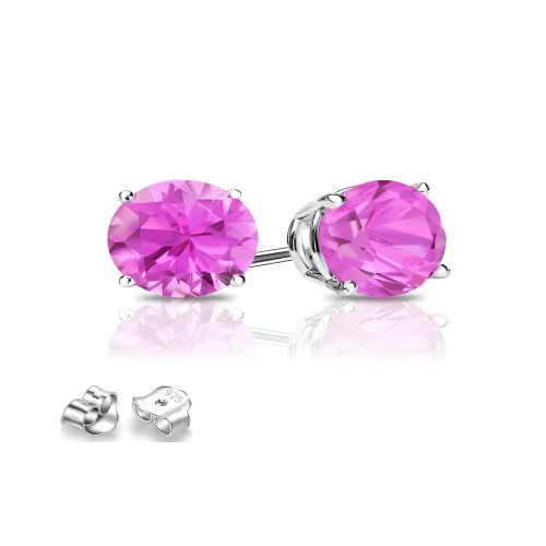 Sterling Silver 6mm Hot Pink Cubic Zircon Round Stud Earrings.