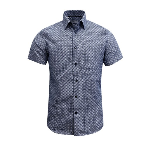 Monza Modern Fit Short Sleeve Navy Geometric Dress Shirt