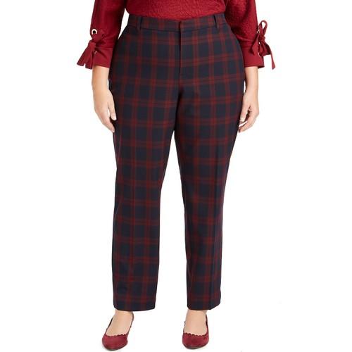 Charter Club Women's Plus Size Plaid Slim-Leg Pants Deepest Navy Size 22W