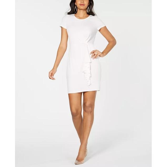 Thalia Sodi Women's Asymetrical Ruffle Dress Natural Size Small