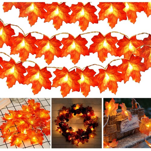 Hanging Maple Leaf String Lights 9.8Ft for Home Wedding Party Christmas Decor