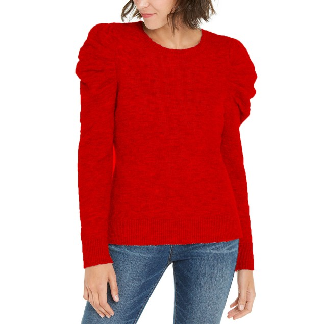INC International Concepts Wo Puff-Sleeve Sweater Real Red Extra Large