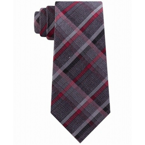Kenneth Cole Reaction Men's Hudson Slim Plaid Tie Red Size Regular