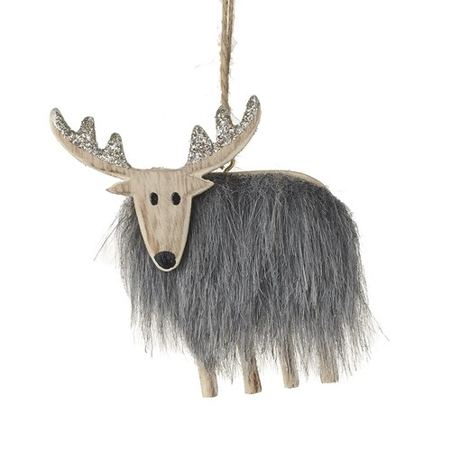 Wooden Deer With Fur Body Tree Decor