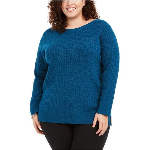 Karen Scott Women's Plus Size Cotton Boat Neck Sweater Blue Size 2X