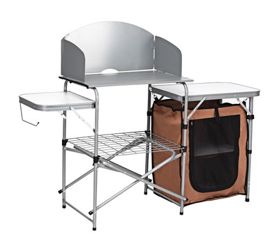 Costway Foldable Camping Table Outdoor BBQ Portable Grilling Stand with Windsc Was: $219.99 Now: $104.99.