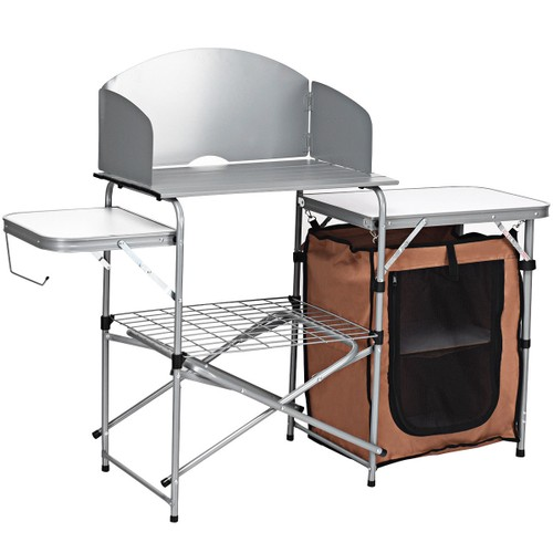 Costway Foldable Camping Table Outdoor BBQ Portable Grilling Stand w/Windsc