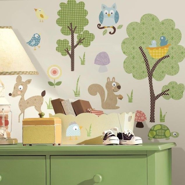 Roommates Baby Room Wall Decor Woodland Animals Peel And Stick Wall Decals