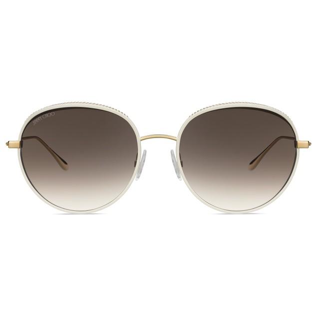Jimmy Choo Women Sunglasses ELLOS 00NR White Gold Oval Gradient 56 18 140