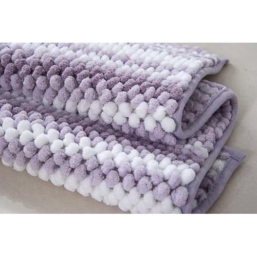 Ultra-Soft Plush Two-Tone Bubble Chenille Anti-Slip Bath Mat