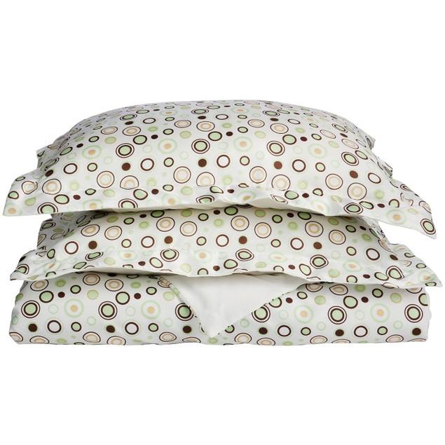 Spring Circles Duvet Cover Set With Shams, Wrinkle Free Microfiber