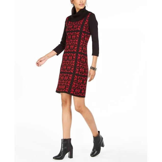 Nine West Women's Tile Print Cowlneck Sweater Dress Black Size Large