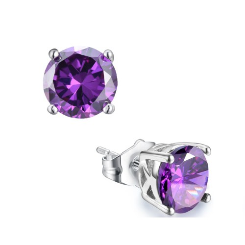 Sterling Silver 6mm Purple Cubic Zirconia Round Stud Earrings