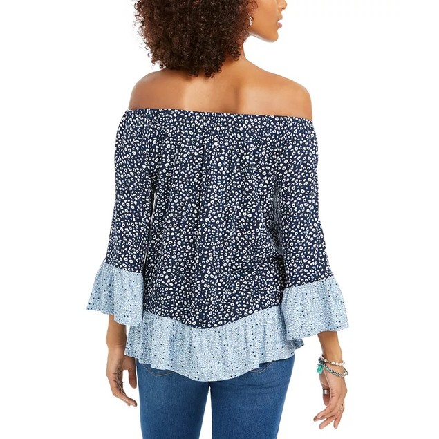 Style & Co Women's Printed On/Off-The-Shoulder Top Blue Size Small