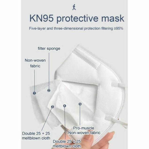 40 Pcs White KN95 Protective Face Mask BFE 95% Disposable Respirator KN 95