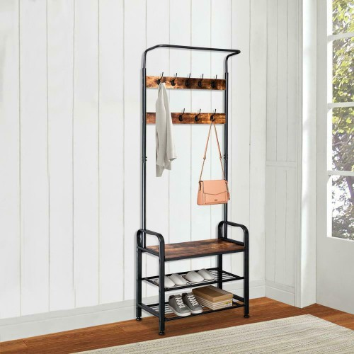 Industrial Coat Rack Hall Tree Entryway Shoe Bench Home Storage Shelf