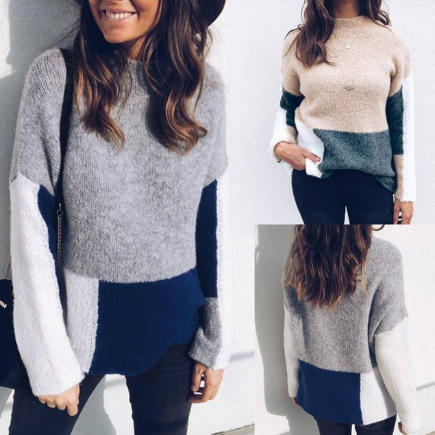 Women's Contrast Color Pullover Sweater