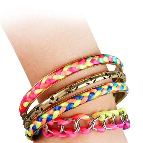 4-Piece Colorful Woven Burnished Gold Bracelet Set