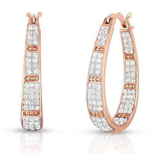 Rose And White Austrian Crystal Hoop Earrings
