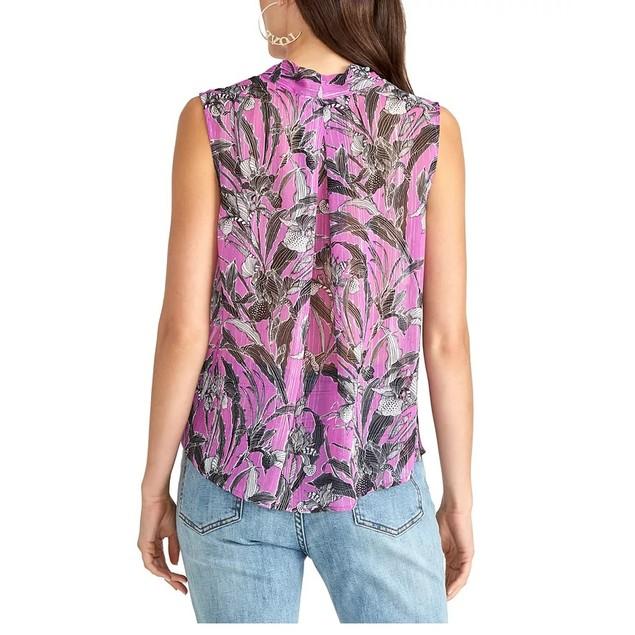 Rachel Roy Women's Semi-Sheer Printed Top Purple Size X-Small