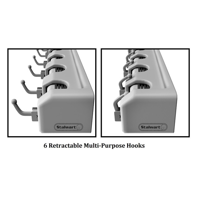 Shovel, Rake and Tool Holder with Hooks- Wall Mounted Organizer