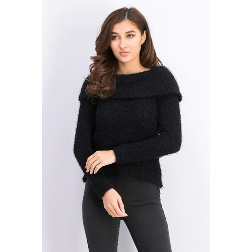 Freshman Juniors' Off-The-Shoulder Fuzzy Sweater Black Size Large
