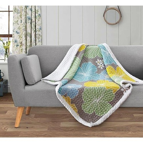 Spura Home Floral Francesca Yellow/Gray Transitional Quilted Sherpa Throw
