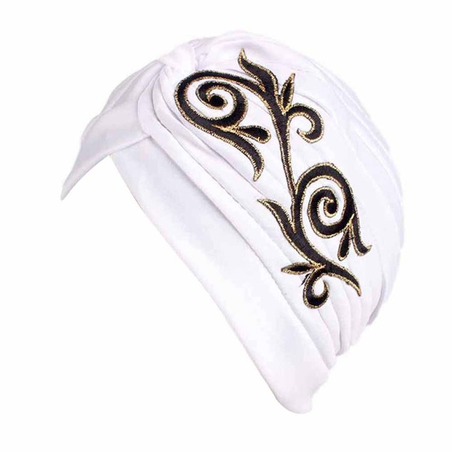 Women Embroidery Cancer Chemo Hat Beanie Scarf Turban Head Wrap Cap G