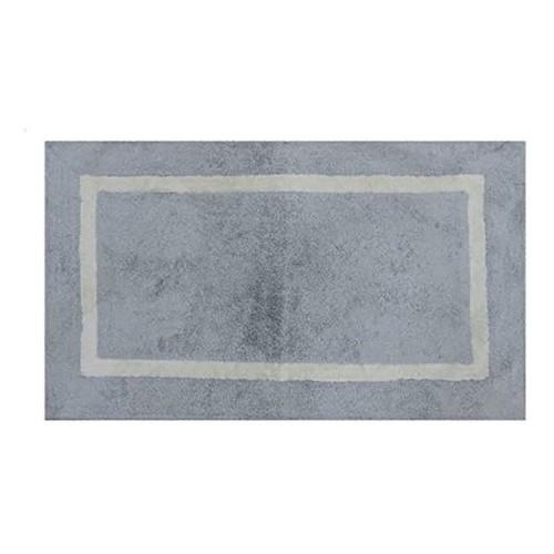 Spura Home Handmade Oriental Solid Blue Bath Mat W/White Border 18x24