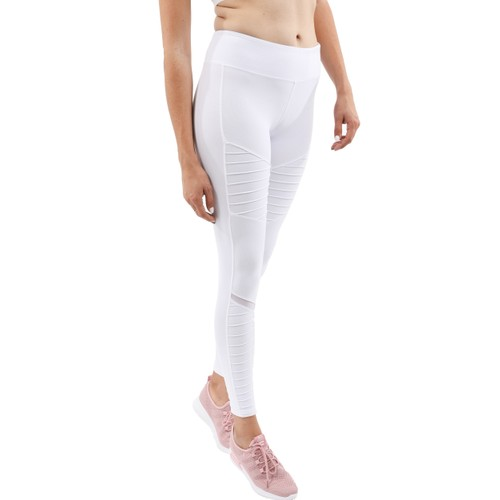 ATHLETIQUE LEGGINGS WITH HIDDEN POCKET AND MESH PANELS - WHITE