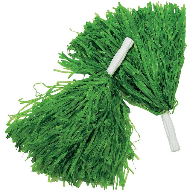 Green Pom-Poms (Pair) Cheerleader Cheer Leader Squad Pep Costume Accessory
