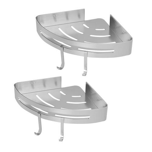 Adhesive Corner Shower Caddy   MandW 2 Tier
