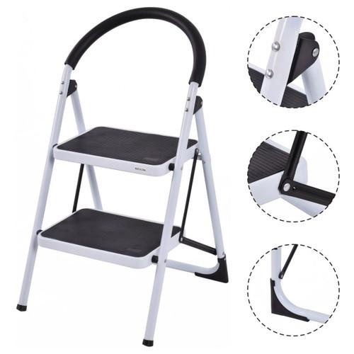 Costway 2 Step Ladder Folding Stool Heavy Duty 330Lbs Capacity Industrial L