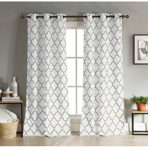 Lattice Print Blackout Grommet Window Curtain Pair