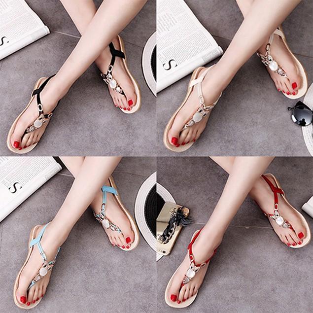 Summer Roman Style Rhinestone Flat Flip Flops Sandals Shoes