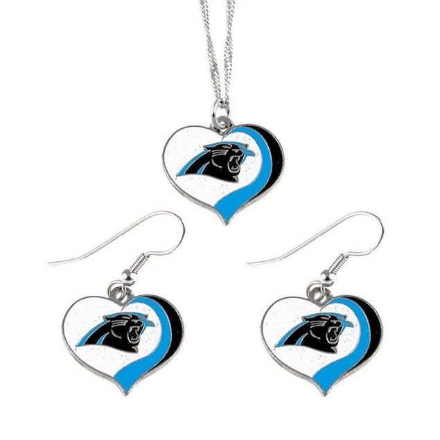 Carolina Panthers NFL Glitter Heart Necklace and Earring Set Charm Gift