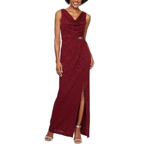 Alex Evenings Women's Petite Jacquard Column Gown Red Size 10