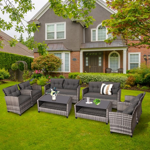 Costway 8PCS Patio Rattan Cushioned Patio Set With Coffee Table
