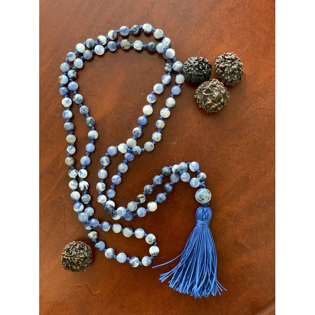 6mm 108 Bead Sodalite Mala Hand Knotted Mantra Sound Healing