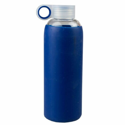 Glass Water Bottle W/ Navy Silicone Slieve - 24 Oz Glass Water Battle