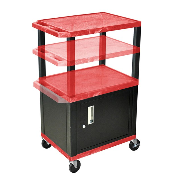 """Luxor 26"""" Multi - Height AV Electric Cart with Cabinet - Black Legs, Red"""