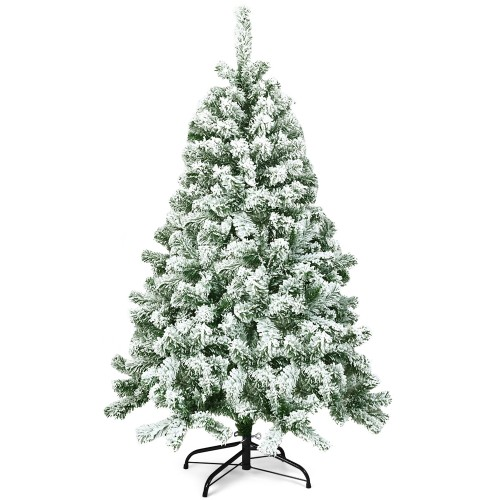Costway 4.5FT Snow Flocked Artificial Christmas Tree Hinged w/400 Tips and