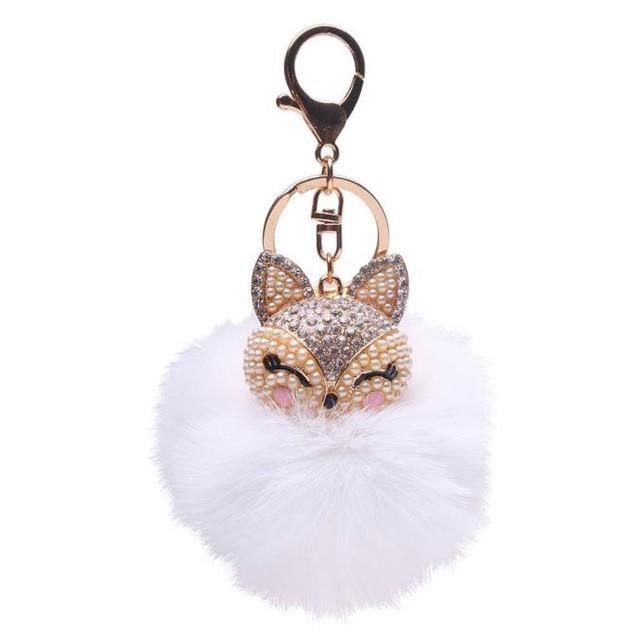 Fox Fur Ball with Pearl Rhinestone Key Chain