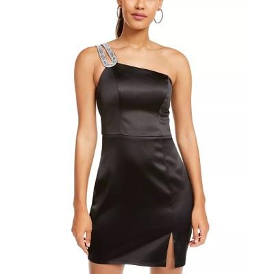 Sequin Hearts Juniors' Embellished One-Shoulder Satin Dress Black Size 13