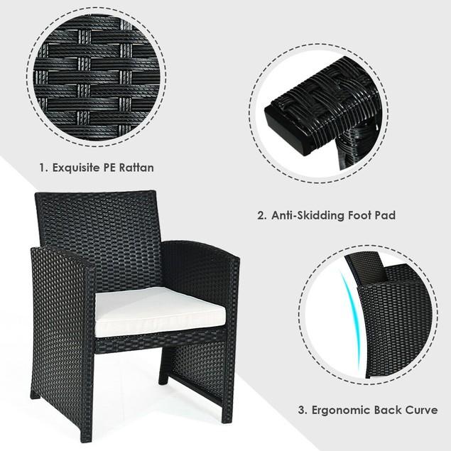 Costway 4PCS Patio Rattan Furniture Conversation Set