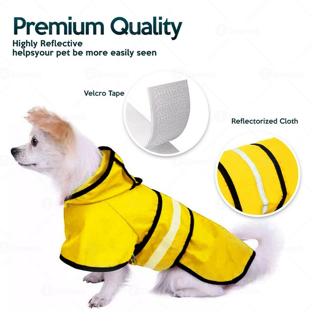 Zone Tech Pet Dog Raincoat Protection Hood with Reflective Stripe Strip