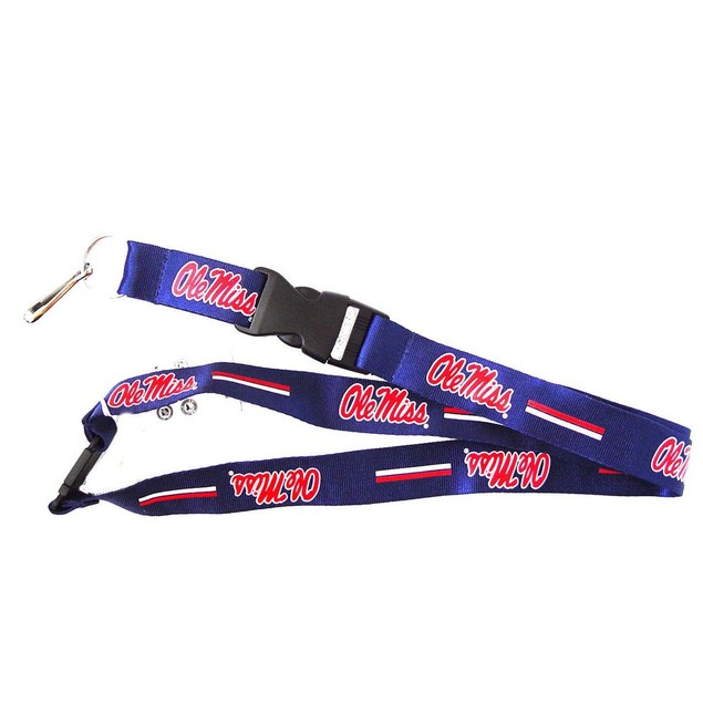 OLE Miss Rebels NCAA Clip Lanyard Keychain Id Ticket - Blue